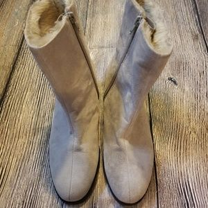 Suede leather ankle boots gray taupe 8 AH